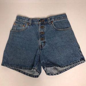 Women's Levi denim high rise shorts.